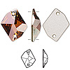 Sew-on component, Swarovski crystal, crystal copper, 20x16mm flat back faceted cosmic (3265). Sold individually.