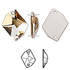 Sew-on component, Swarovski crystal, crystal golden shadow, 26x21mm flat back faceted cosmic (3265). Sold per pkg of 20.
