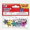 Sew-on flat back mix, Westrim®, acrylic, orange / green / red / purple / pink with silver-colored back, 22mm star. Sold per pkg of 15.
