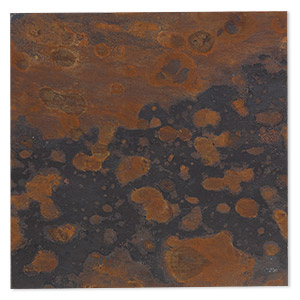 Sheet, Lillypilly, copper, mottled patina, 3-inch single-sided square, 24 gauge. Sold individually.