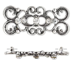 "Spacer, antique silver-plated ""pewter"" (zinc-based alloy) and Czech glass rhinestone, clear, 39x16mm 2-strand fancy rectangle. Sold per pkg of 4."