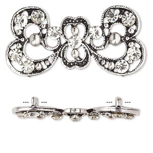 "Spacer, antique silver-plated ""pewter"" (zinc-based alloy) and Czech glass rhinestone, clear, 37x17mm 2-strand fancy bow. Sold per pkg of 4."