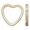 Split ring, gold-plated steel, 32x31mm flat heart. Sold per pkg of 100.