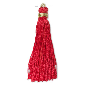 Tassel, silk (imitation) and gold-finished copper, red, 1-3/4 to 2 inches. Sold per pkg of 12.