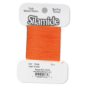 Thread, Silamide, 2-ply waxed nylon, orange, size A, 4-pound test. Sold per 40-yard card.