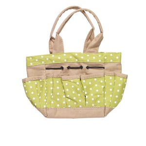 Tote, woven PVC fabric, green/tan/white, 6-1/2 x 4x7 inches with polka dot design and 5-inch carry handle. Sold individually.