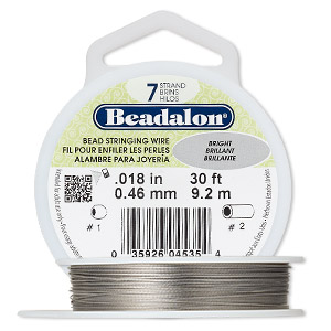 Wire, Beadalon®, nylon and stainless steel, bright, 7 strand, 0.018-inch diameter. Sold per 30-foot spool.