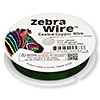 Wire, Zebra Wire™, color-coated copper, green, round, 30 gauge. Sold per 50-yard spool.