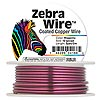 Wire, Zebra Wire™, color-coated copper, magenta, round, 12 gauge. Sold per 3-yard spool.
