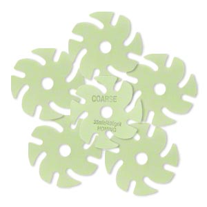 abrasive disc, 3m™ trizact™, plastic, green, 400 grit, 3-inch replacement disc for jooltool™. sold per pkg of 6.