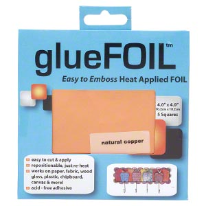 adhesive foil, gluefoil™, copper and glue, natural copper, 4x4-inch square. sold per pkg of 5 pieces.