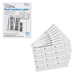 adhesive label, bead storage solutions™ bead container labels™, paper, white and black, 1-1/2 x 3/4 inches with part info $. sold per pkg of 96.