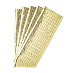 adhesive label, paper, gold and black, 1/2 x 5/16 inch oval with made in austria. sold per pkg of 1,000.