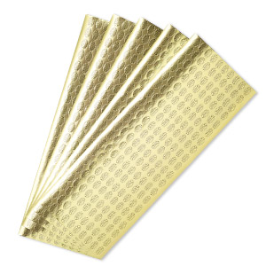 adhesive label, paper, gold and black, 1/2 x 5/16 inch oval with made in pakistan. sold per pkg of 1,000.