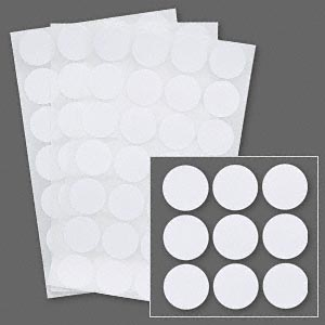 adhesive label, paper, white, 3/4 inch round. sold per pkg of 1,008.