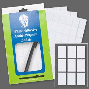 adhesive label, paper, white, 3/4 x 1/2 inch rectangle. sold per pkg of 1,008.