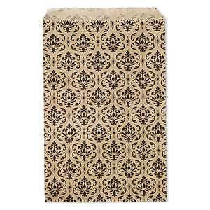 bag, paper, brown and black, 9x6 inches with damask print and scalloped top edge. sold per pkg of 100.