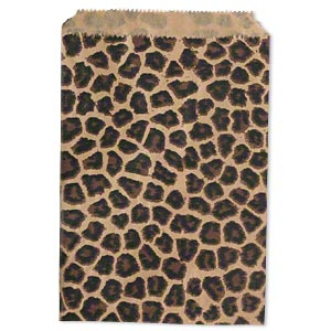 bag, paper, light brown / dark brown / black, 7x5-inch rectangle with leopard print and scalloped top edge. sold per pkg of 100.