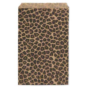 bag, paper, light brown / dark brown / black, 9x6-inch rectangle with leopard print and scalloped top edge. sold per pkg of 100.