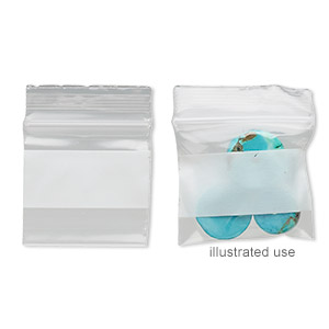 bag, tite-lip™, plastic, clear and white, 1x1-inch top zip with block. sold per pkg of 1,000.