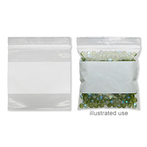bag, tite-lip™, plastic, clear and white, 3x3-inch top zip with block. sold per pkg of 100.
