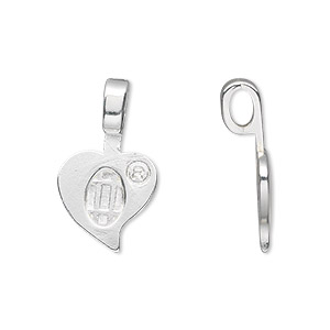 bail, aanraku, glue-on, silver-plated pewter (zinc-based alloy), 23x13.5mm with 13.5x10mm heart flat base. sold per pkg of 25.