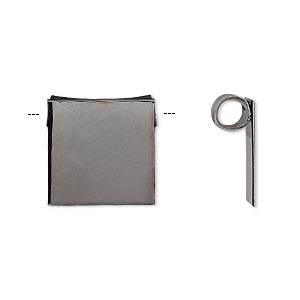 bail, glue-on, gunmetal-plated brass, 16x15mm square with hidden tube bail. sold per pkg of 2.