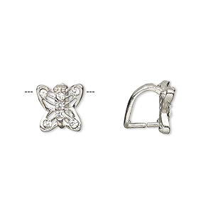 bail, ice-pick, egyptian glass rhinestone and imitation rhodium-plated brass, clear, 10x9mm butterfly, 7mm grip length. sold per pkg of 6.