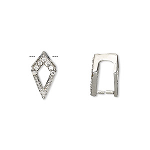 bail, ice-pick, egyptian glass rhinestone and imitation rhodium-plated brass, clear, 13x7mm kite, 10mm grip length. sold per pkg of 6.
