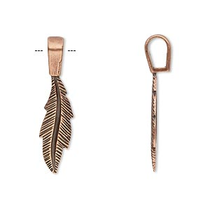 bail, jbb findings, glue-on, antique copper-plated brass, 29x7mm with 20.5x7mm feather flat base. sold individually.