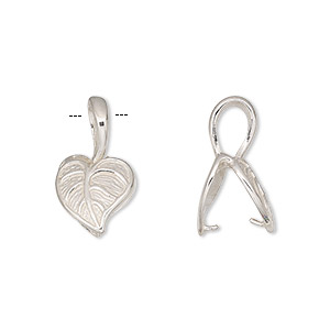 bail, jbb findings, sterling silver, 12x11mm heart shaped leaf, 8mm grip length. sold individually.