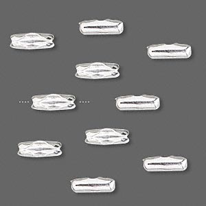 ball chain connector, sterling silver, 9x3mm, fits 1.8-2.5mm ball chain. sold per pkg of 10.