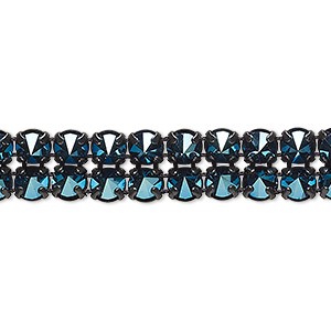 banding, preciosa czech crystal / cotton / black-plated brass, opaque crystal blue flare and black, 2 rows, 10mm wide with 5mm spike. sold per pkg of 10 meters, approximately 4,600 chatons.