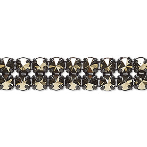 banding, preciosa czech crystal / cotton / black-plated brass, opaque crystal starlight gold and black, 2 rows, 10mm wide with 5mm spike. sold per pkg of 10 meters, approximately 4,600 chatons.