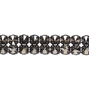 banding, preciosa czech crystal / cotton / black-plated brass, opaque jet silver flare and black, 2 rows, 10mm wide with 5mm spike. sold per pkg of 10 meters, approximately 4,600 chatons.