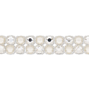 banding, preciosa rose viva 12 czech crystal / glass pearl / cotton cord / silver-plated brass, opaque cream / white / transparent crystal argent flare, 2 rows, 10mm wide with 4.5mm round. sold per pkg of 7-3/4 inches, approximately 40 chatons and 40 cabochons.