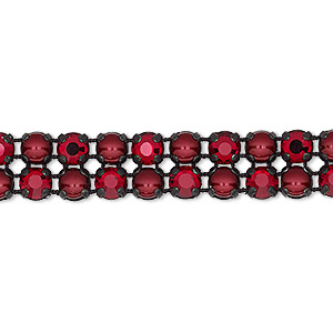banding, preciosa rose viva 12 czech crystal / glass pearl / cotton cord / black-plated brass, opaque bordeaux / black / translucent siam, 2 rows, 10mm wide with 4.5mm round. sold per pkg of 10 meters, approximately 2,300 chatons and 2,300 cabochons.