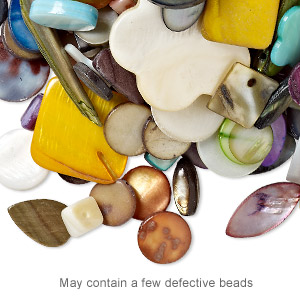 bead / drop / focal mix, mother-of-pearl shell (natural / bleached / dyed), mixed colors, 4x3mm-35x25mm mixed shape, mohs hardness 3-1/2. sold per 1/2 pound pkg, approximately 210 pieces.