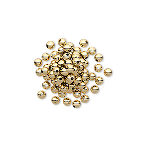 bead, 12kt gold-filled, 2.5mm round with 0.6mm hole. sold per pkg of 100.
