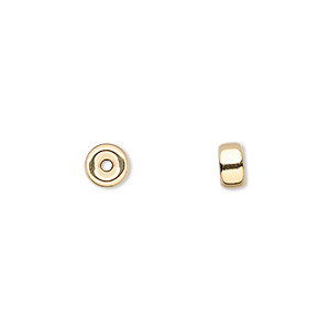 bead, 14kt gold, 6x3.5mm flat rondelle. sold individually.