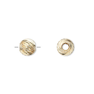bead, 14kt gold, 8mm corrugated twisted round. sold individually.