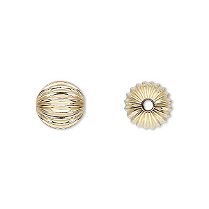 bead, 14kt gold-filled, 10mm corrugated round. sold per pkg of 2.