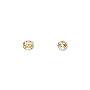 bead, 14kt gold-filled, 5mm corrugated round. sold per pkg of 50.