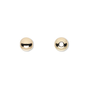 bead, 14kt gold-filled, 7mm seamless smooth round. sold per pkg of 2.