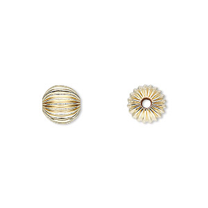 bead, 14kt gold-filled, 8mm corrugated round. sold per pkg of 10.