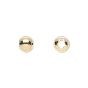 bead, 14kt gold-filled, 8mm seamless smooth round with 4mm hole. sold per pkg of 2.