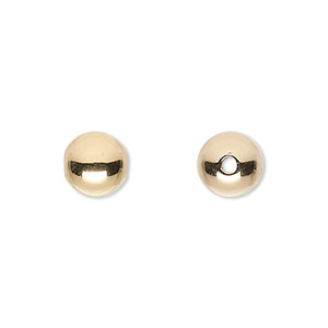 bead, 14kt gold-filled, 9mm seamless smooth round with 2mm hole. sold per pkg of 20.