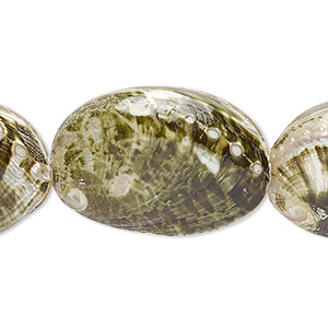 bead, abalone shell (natural), 32x23mm oval, mohs hardness 3-1/2. sold per 13-inch strand.