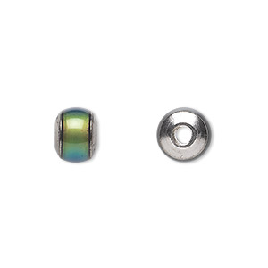 bead, acrylic and imitation rhodium-plated brass, multicolored, 10x7mm color-changing rondelle with 2.5mm hole. sold per pkg of 6.