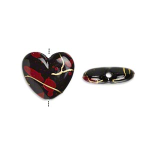 bead, acrylic, black / red / gold, 15x14mm flat heart with speckled and stripe design. sold per pkg of 150.